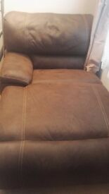 Right hand brown reclining chaise