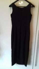 Black long length dress with high leg split with bead detail size 14