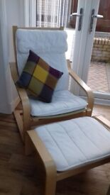 2 ikea poang chairs with footstools cream covers in good condition.