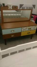 Geometric teak retro sideboard / dresser / drawers with mirror