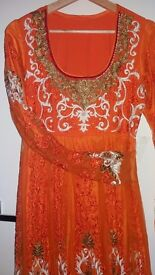 Orange & Gold Anarkali A-line Outfit- Medium/Large