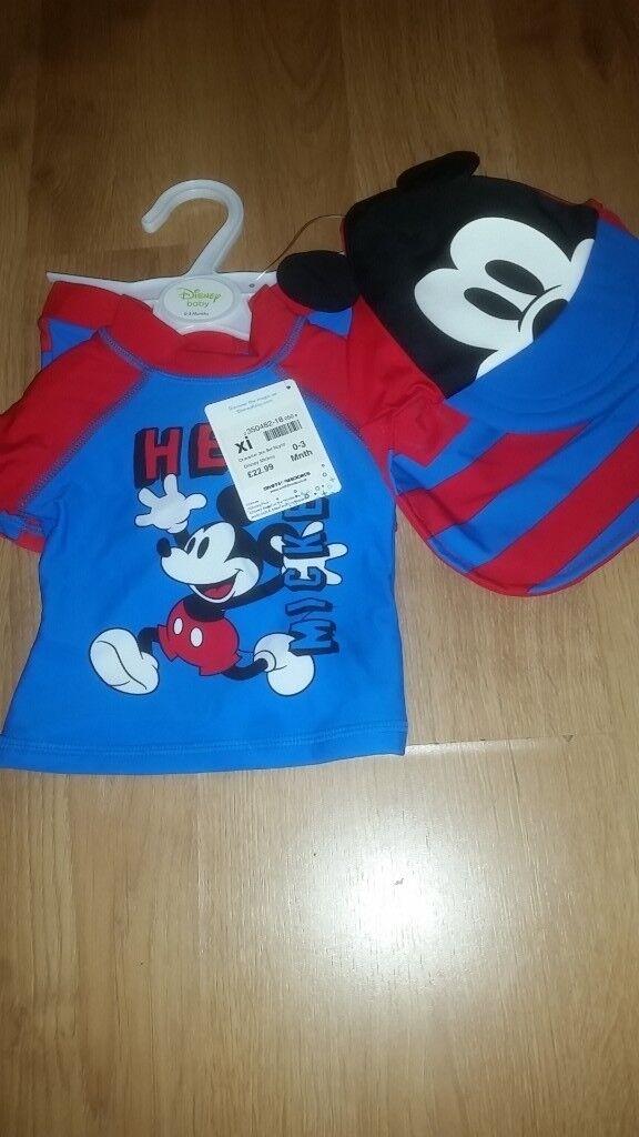 Brand New Baby Boy Disney Swimming Costume 0 3months In