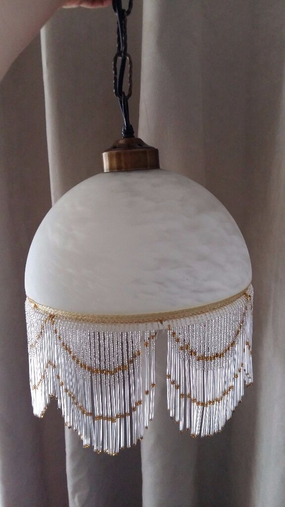 Vintage style french art deconouveau lamp shade marble glass beaded vintage style french art deconouveau lamp shade marble glass beaded ivory mozeypictures Gallery