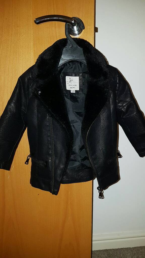 River island leather look jacket 12 18monthsin Birkenshaw, West YorkshireGumtree - Gorgeous fur lined leather look zip up biker jacket from River Island Unisex 12 18 months. Only worn once out so like new!
