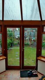 Good quality Hardwood conservatory/Summer house/greenhouse (now dismantled and ready to go)
