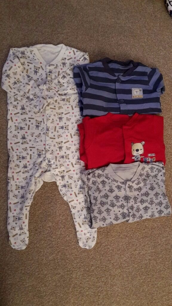 4 cotton sleepsuits age 0-3 months - good condition