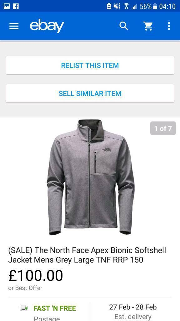 Mens the north face apex bionic softshell jacket