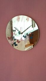 Mirrored butterfly wall clock