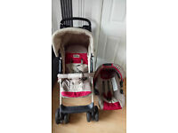 used pushchair with car seat and raincover £15