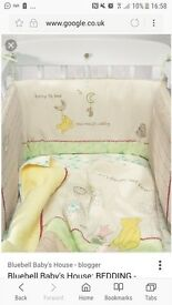 Mothercare whinnie the pooh cot bedding bundle