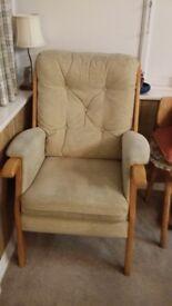 2 x Armchairs in beige. Price each unit.
