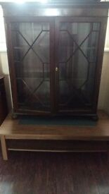 Glass cupboard ; glass cabinet ; vintage ; varnished ; for refurb