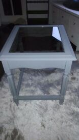 Grey matt cof table glass inset
