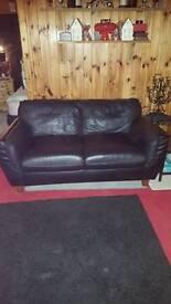 2 small 2 seater sofa black leather