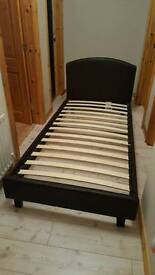 Single leather 3ft bed frame