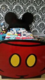 mickey mouse wooden slatted bed c/w memory foam mattress and duvet set never used