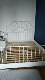white double bed frame. IKEA LEIRVIK