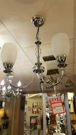 CLEARANCE! three light chrome ceiling light with white shades