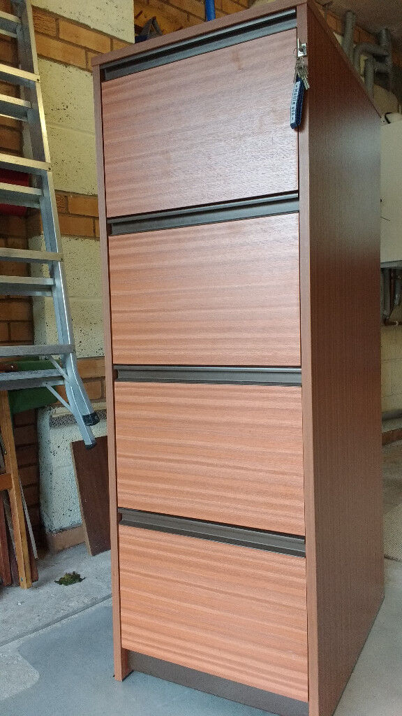 Filing cabinet, four drawer, wood-look finish, with hanging fies