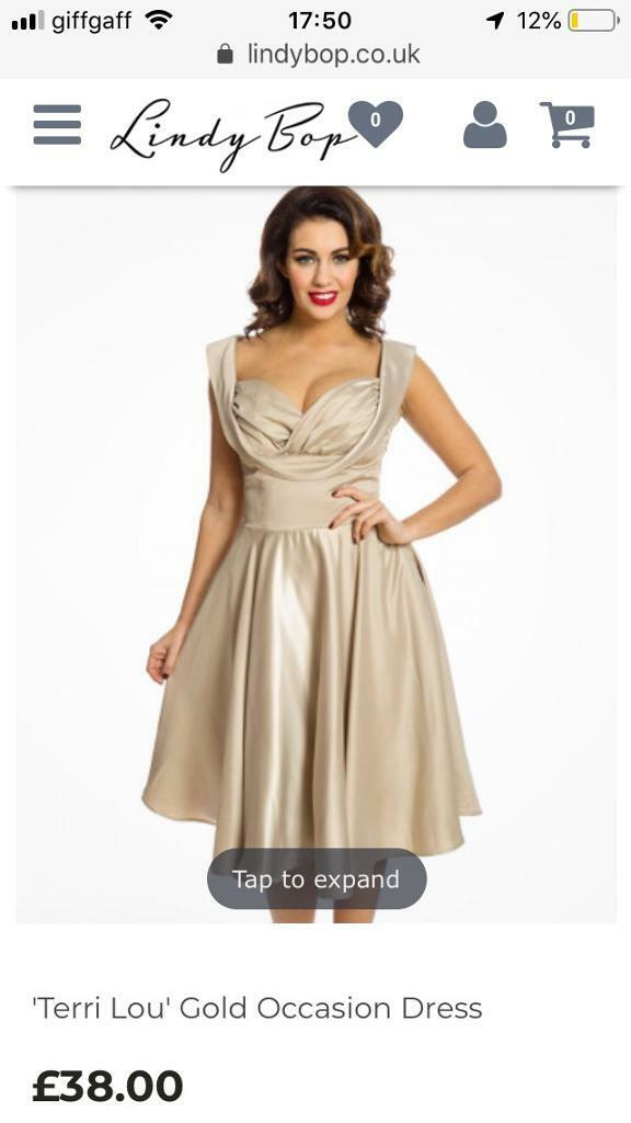 Women s Gold Occasion Dress (Lindy Bop) and Gold Sparkly Heels ... 00b5be3a45