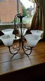 Antique brass chandelier x 2 ,glass shades,ceiling lights