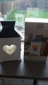 ALDI Wooden Indoor Lanterns - grey/white