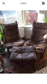 2x 1970s Norwegian Siesta chairs and Footstool