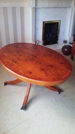Oval shape type of wood Yew Coffee Table