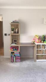 Light coloured desk bought from next with shelving to one side excellent condition