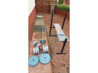 Weights + weight bench, barbell, dumbell