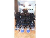 BLACK BUGABOO DONKEY TWIN + 2 MAXI COSI PEBBLE CAR SEATS & MANY EXTRAS-RRP£1784.00