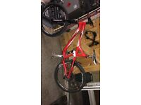 Red specialized fully suspended race face FSR, shimano gears
