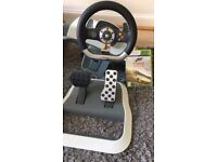 X box 360 Forza Horizon 2 game, steering wheel and pedals