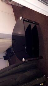 BLACK CHROME GLASS TV STAND