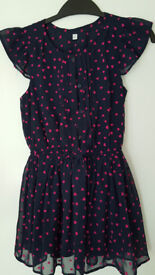 Navy with pink hearts dress M&S