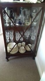 Lovely old dark wood glass display unit £25.00