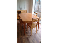 Extending Dining Table, 4 Chairs and Sideboard