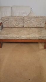 Sofa seat with cushion seats and back solid teak