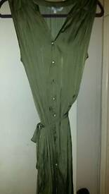 Olive green silk button through dress