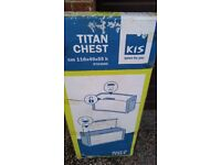 Unopened in box, Kis Titan Outdoor Storage Chest Grey Black - 300 Litre - L118 x D49 x H55
