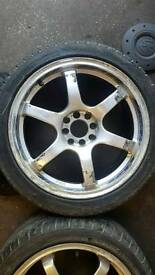 "17"" inch alloy wheels with almost brand new tyres"