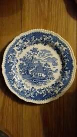 Vintage Wood & Sons Art Deco Blue and white vintage tea Saucer