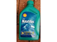 Outboard motor oil 2 t stroke. 5 bottles new unopened Nautilus shell job lot