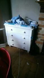 White changing table with draws