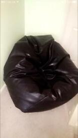 Large Brown leather bean bag