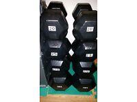 220kg hex rubber dumbbells