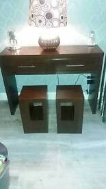 Consul table and two lamp tables