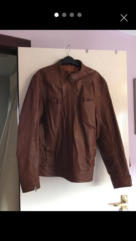 3d4e10f7668080 Men s Brown Leather Jacket (ASOS) size Large