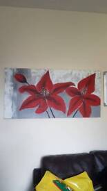 Oil painted Red, grey, white canvas.