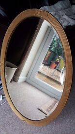Oval bevelled mirror